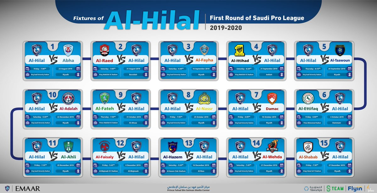 #AlHilal's fixtures of the first round of the   #SaudiProLeague  #AlHilal_Infographic <br>http://pic.twitter.com/RGPOgLvXzD