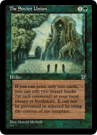 Since posting this card probably means the CIA is now monitoring me, to them I'd like to say: Hello!  #MtG #GoogleTranslatesMtG #SylvanLibrary  Art by: Harold McNeill<br>http://pic.twitter.com/nTSuLquZzW