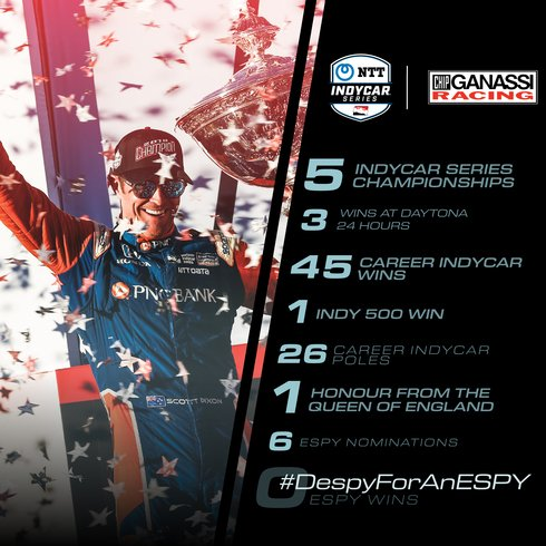 .@IndyCar's @scottdixon9 is up for an #ESPY! After capturing his fifth series championship in 2018 and taking the podium at half of the races so far this year, you can bet he's my pick for best driver. Cast your vote today: https://es.pn/2NqleZV