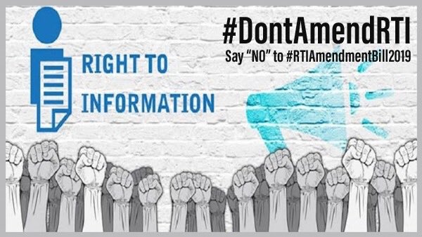 The #RTIAmendmentBill2019 is listed for passage in #LokSabha on Mon, 22July2019.  The amendments will kill the #RTIAct2005.  Let's unite to protect the Citizens' #RightToInformation.  Let's demand #Transparency and #Accountability!  Let's raise our voice and say:  #DontAmendRTI