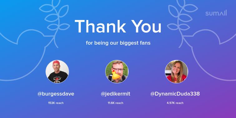 Our biggest fans this week: burgessdave, jedikermit, DynamicDuda338. Thank you! via sumall.com/thankyou?utm_s…
