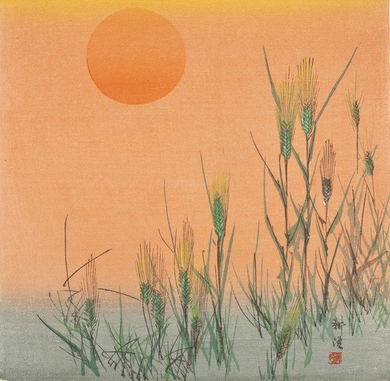 Off to an early start with this collection highlight. 🌅 Tsukioka Kōgyō, Barley at Sunrise, circa 1900 :: photo ©Museum Associates/LACMA.