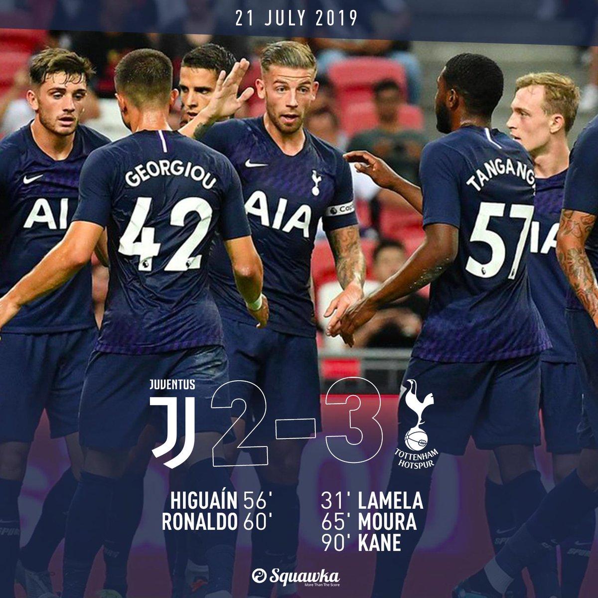 Juventus 2-3 Spurs FT:  ⚽️ Lamela ⚽️ Higuaín ⚽️ Ronaldo ⚽️ Lucas ⚽️ Kane  Harry Kane scores from the half-way line in stoppage time against former Arsenal goalkeeper Wojciech Szczesny. 🤯