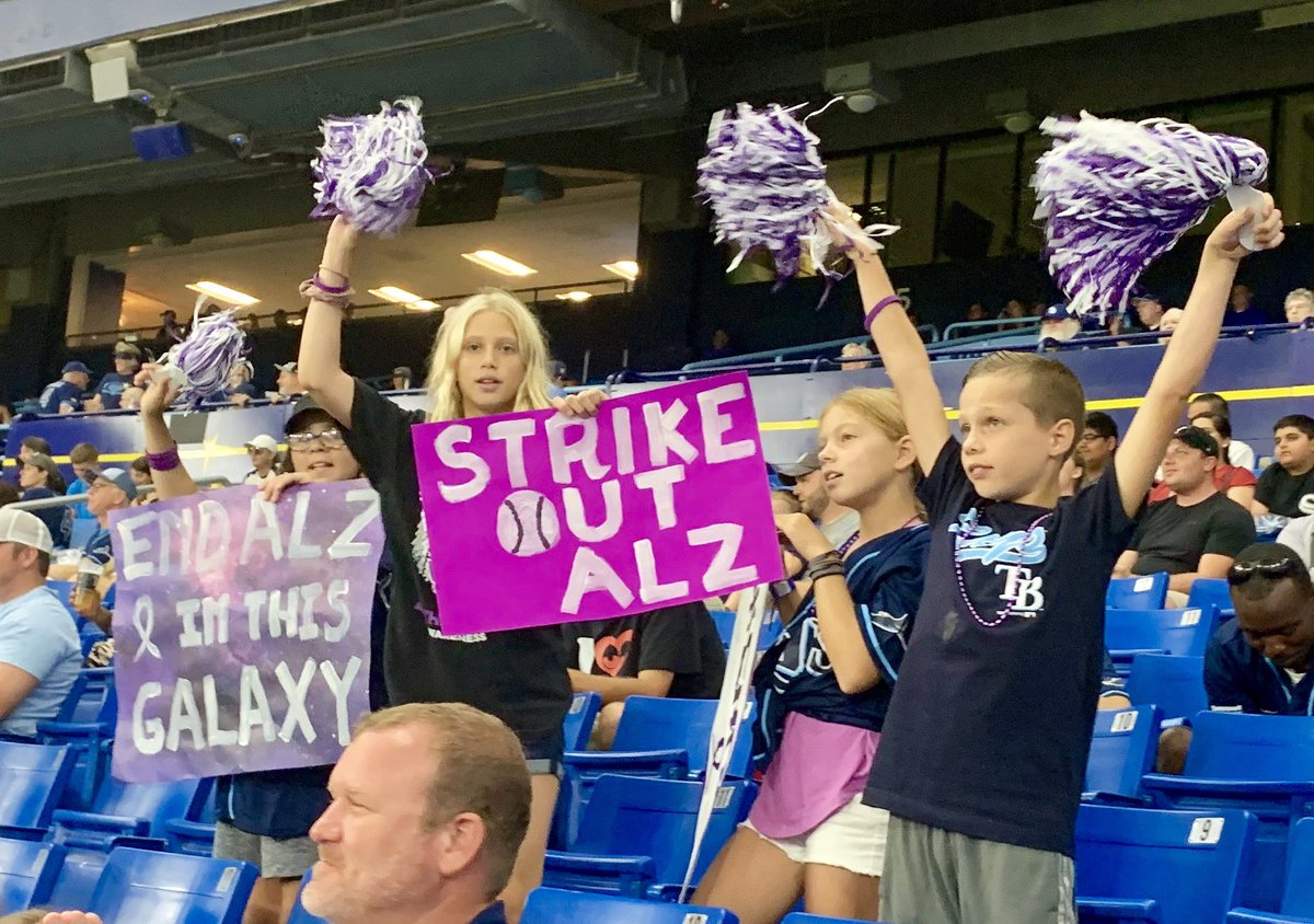 A special thanks to @RaysBaseball for an amazing Alzheimer's Awareness night. Together we will strike out Alzheimer's. #RaysUp #ENDALZ