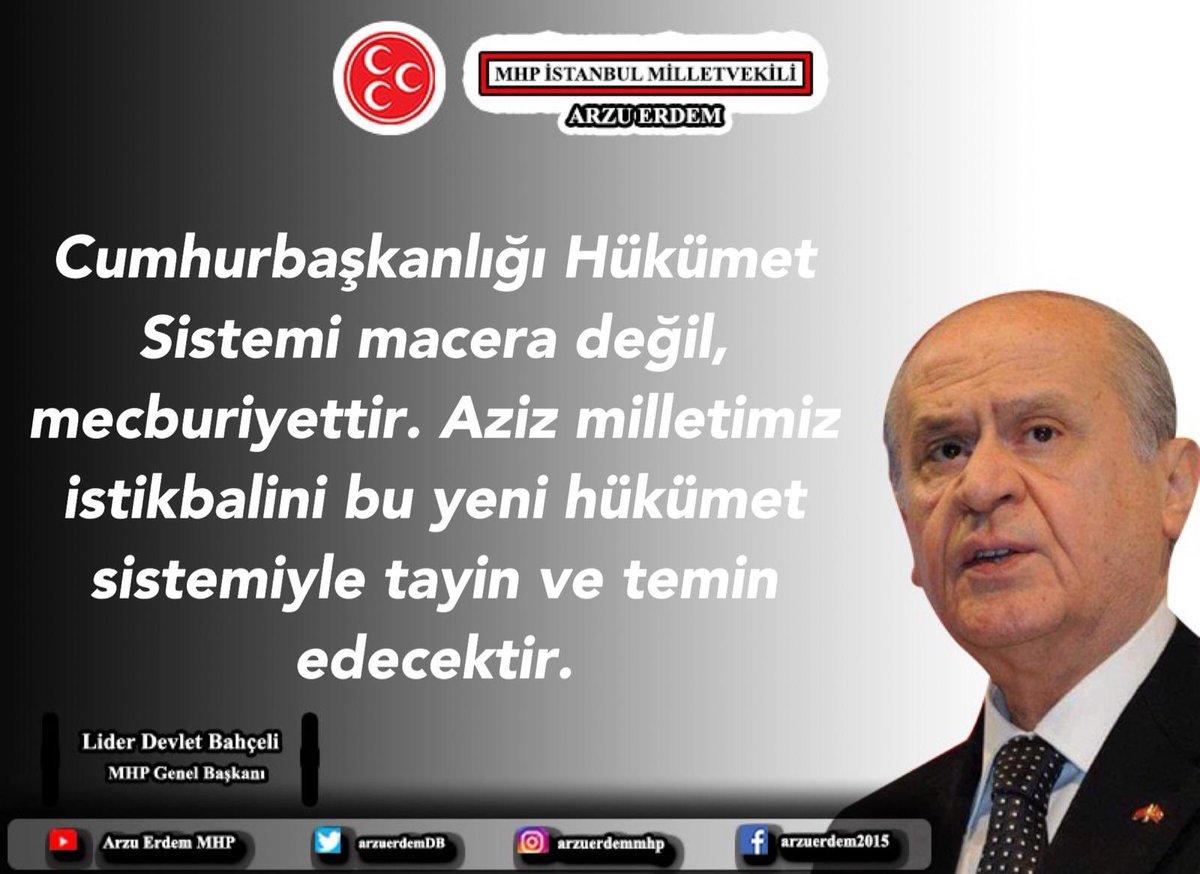 """""""Cumhurbaşkanlığı Hükümet Sistemi macera değil, mecburiyettir. Aziz milletimiz istikbalini bu yeni hükümet sistemiyle tayin ve temin edecektir."""" Lider Devlet Bahçeli @dbdevletbahceli #DevletBahçeli #MHP"""