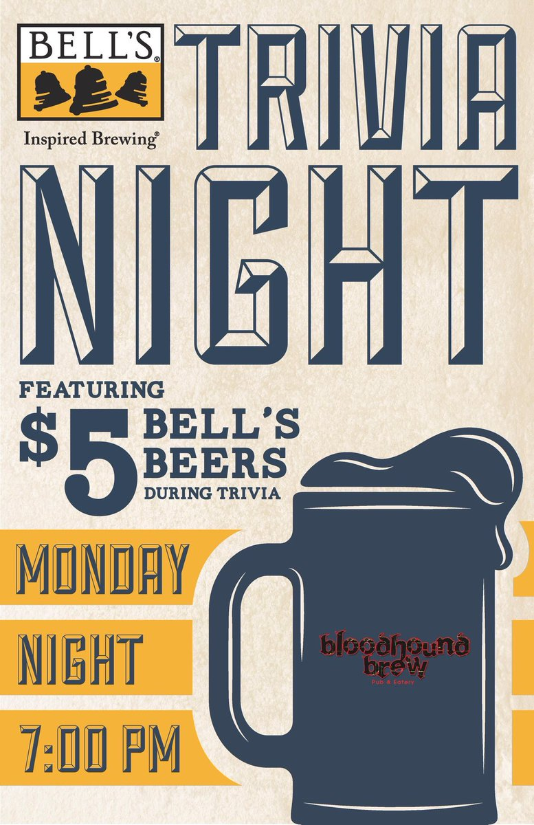 This Monday trivia will be sponsored by Bells Brewery. $5 Bells during trivia. 7pm Monday July 22nd. Free to enter, prizes to be won. @BellsBrewery  #trivia #beer #craftbeer #games #nerdbar #afterwork #windermere #orlando #freestuff