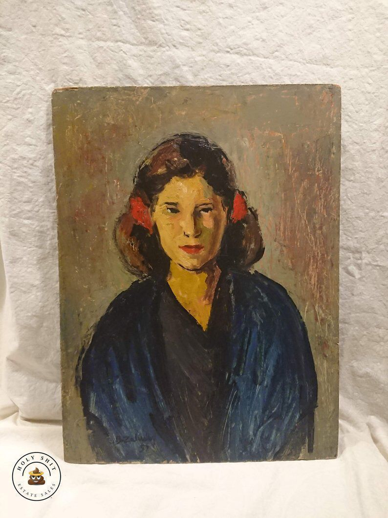 #etsy shop: #Vintage Oil #Portrait #Painting of Young #Lady with #Red #Flowers in Her Hair - 1951 Original Artist Painting on Board #art #painting #housewarming #mothersday #peopleportrait #oilpainting #original #zalusky  https:// buff.ly/2Vk7rUn        https:// buff.ly/2OOzdWr     <br>http://pic.twitter.com/7AP3X8f7lS