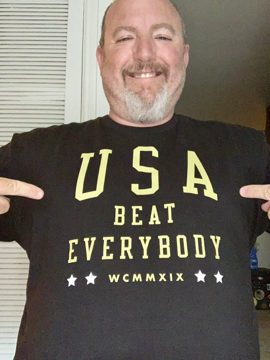 No longer USA vs Everybody, now USA BEAT EVERYBODY....my fav 4 star shirt! Thanks @ALLIE_LONG @alexmorgan13 @kelleymohara @AmericanOutlaws  #USAbeatEVERYBODY #2019WORLDCUPCHAMPS #TourdeFour