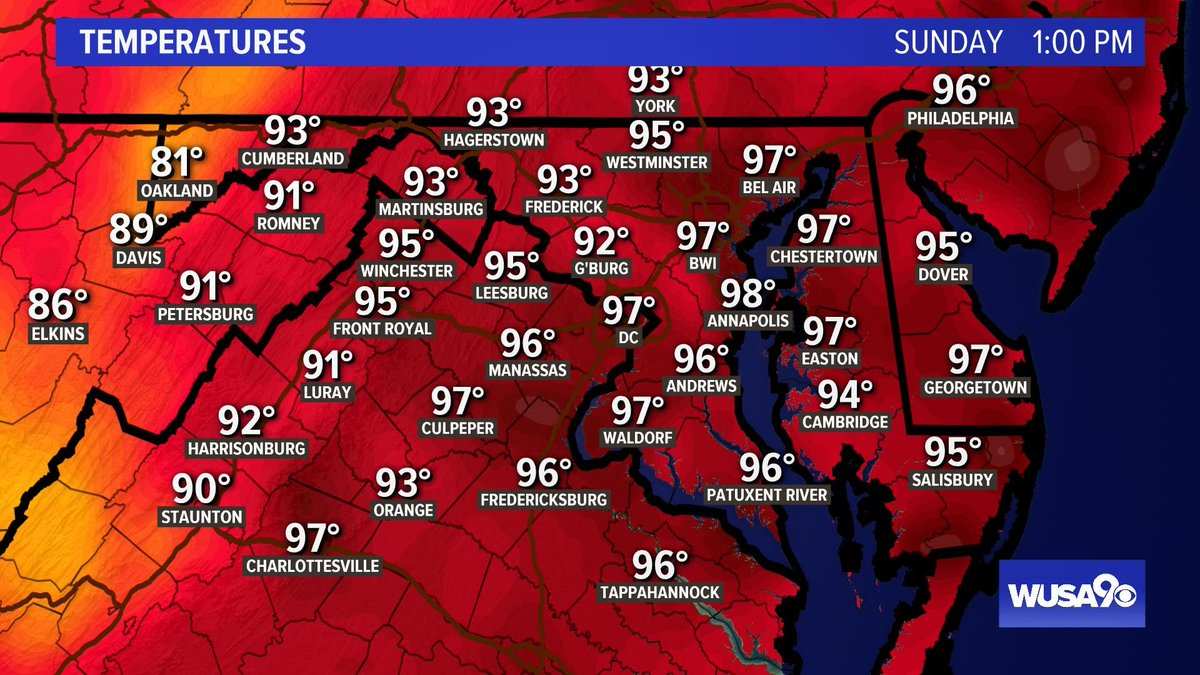 It's way too hot and humid.....Sunday is now closed....come back tomorrow.  (DCA hasn't seen 100° since 8-15-16.) #WUSA9Weather #GetUpDC @AnnieYuTV @TenaciousTopper @MelissaNordWx @MiriWeather @ChrisClimate<br>http://pic.twitter.com/ZpPKYrUUQw