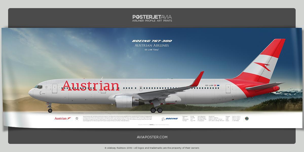 Boeing 767-300 #AustrianAirlines #PosterjetAvia | Airliner Profile Art Prints | http://www.aviaposter.com #aviation #avgeek #airplane #planes #aviationdaily #pilotlife #boeing767 #instagramaviation #instaplane #bigplane #aviationdaily #widebodyaircraft #PilotCareersLive