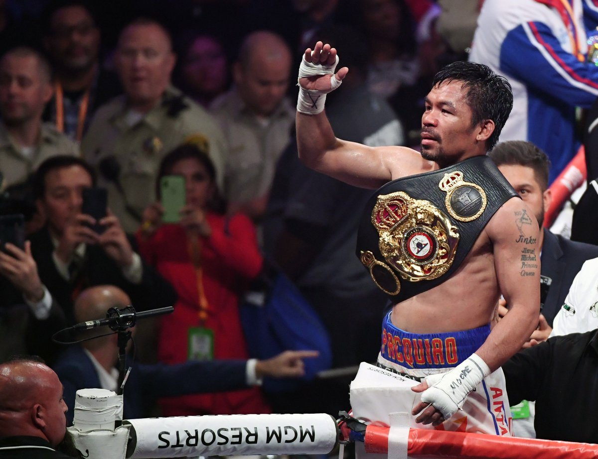 Manny Pacquiao's win over Keith Thurman means he has now won a World title at eight different weights   He has also now won a World title in his teens, twenties, thirties and fourties   Pac-man never gets old...  #PacquiaoThurman <br>http://pic.twitter.com/iXWNtMrnaS