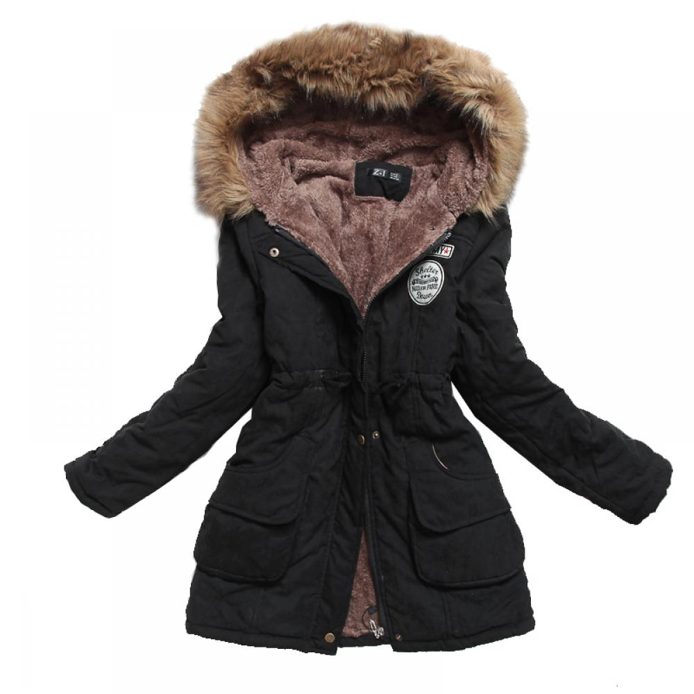 #travel #home Winter Jacket for Women with Faux Fur Decor