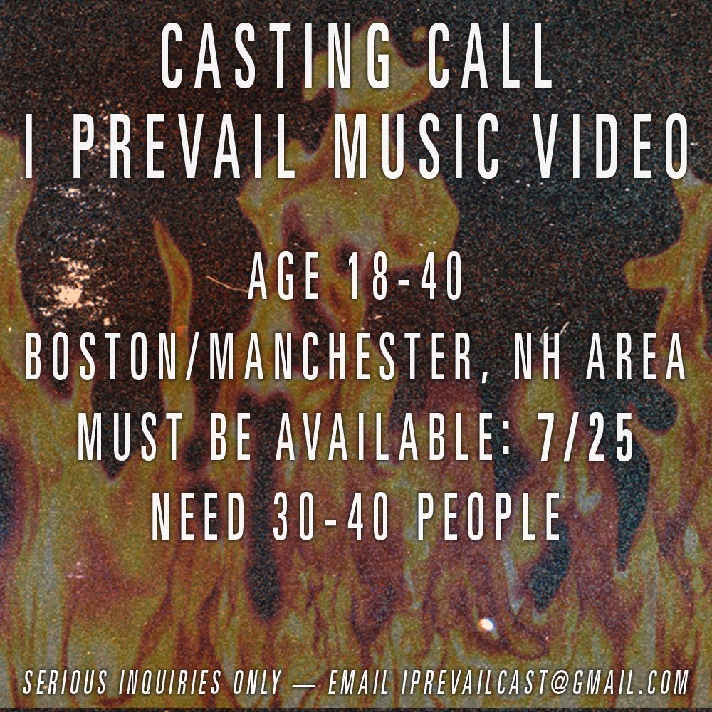 CASTING CALL! We're filming a music video this Thursday!   If you're in the Boston/Manchester, NH area and available on 7/25, please email iprevailcast@gmail.com with your name, age, and a photo of yourself. If you're chosen you'll be emailed back by Tuesday!