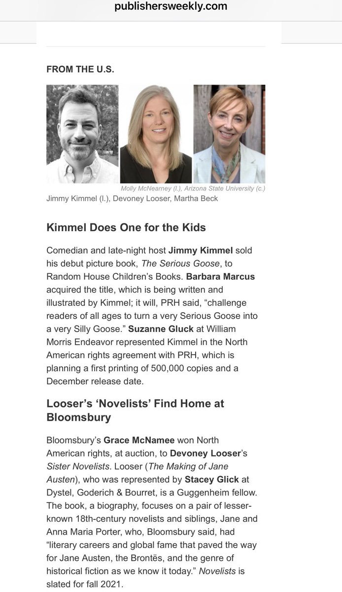 Thx @PublishersWkly for including my Sister Novelists to @BloomsburyPub in Deals of the Week & congrats to @JimmyKimmelLive & @MarthaBeck on your book deals, too! #books #literature #publishing #authors #amwriting