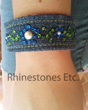 DIY Rhinestone and denim cuff bracelet: https://www.rhinestonesetc.com/how-to/rhinestones-and-denim-cuff-bracelet… #jewelry #bracelets #diy