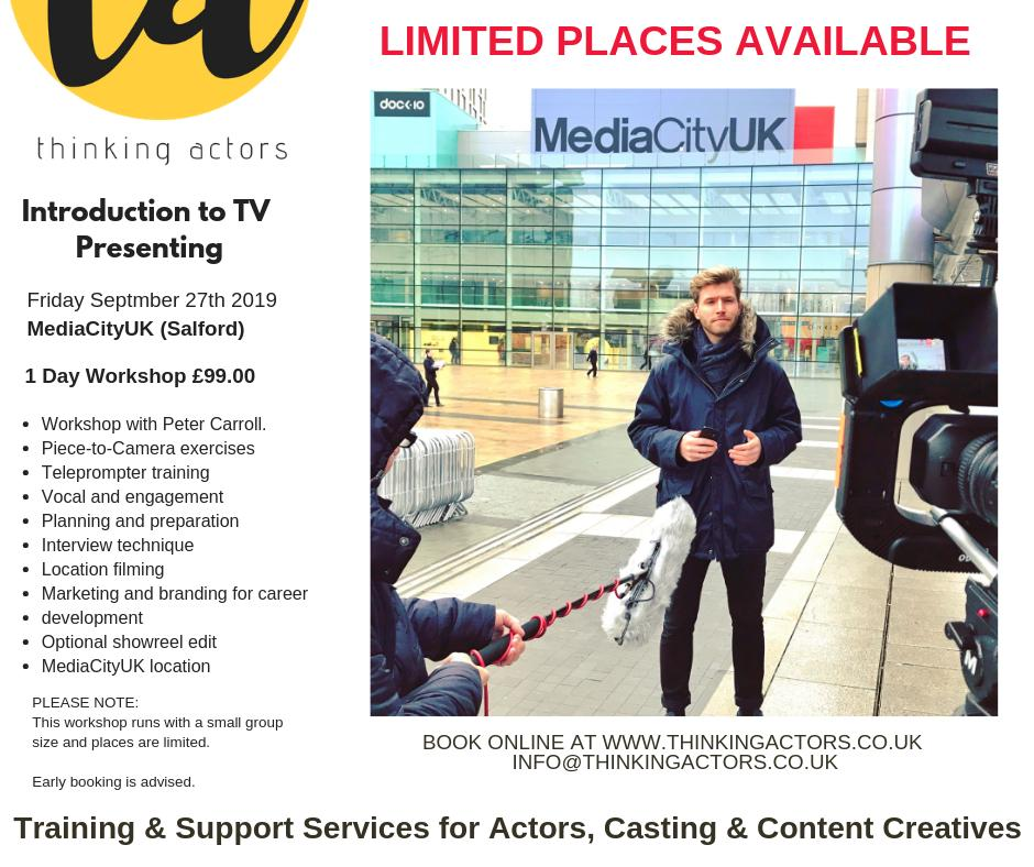 We've just added a NEW September date for our next Introduction to TV Presenting workshop at MediaCityUK (Salford). Exceptional value! Find out more at https://www.thinkingactors.co.uk/presenter-training-workshops … #actor #vlogger #publicspeaker