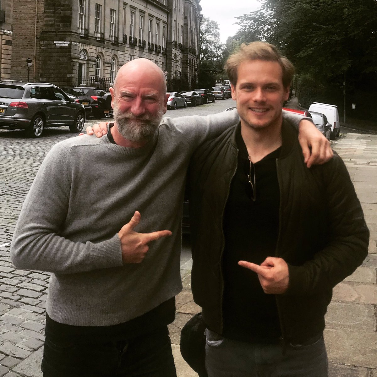 "Great meeting up with this guy again @SamHeughan Get ready for ""Clanlands"" our podcast about the history, clans and landscape of Scotland. Coming soon!!.......#podcast #scotland<br>http://pic.twitter.com/jnNAp0o3UD"