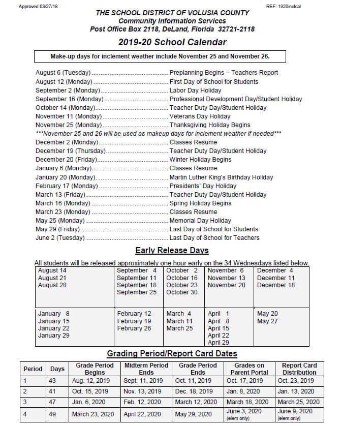 Volusia County School Calendar Volusia County School