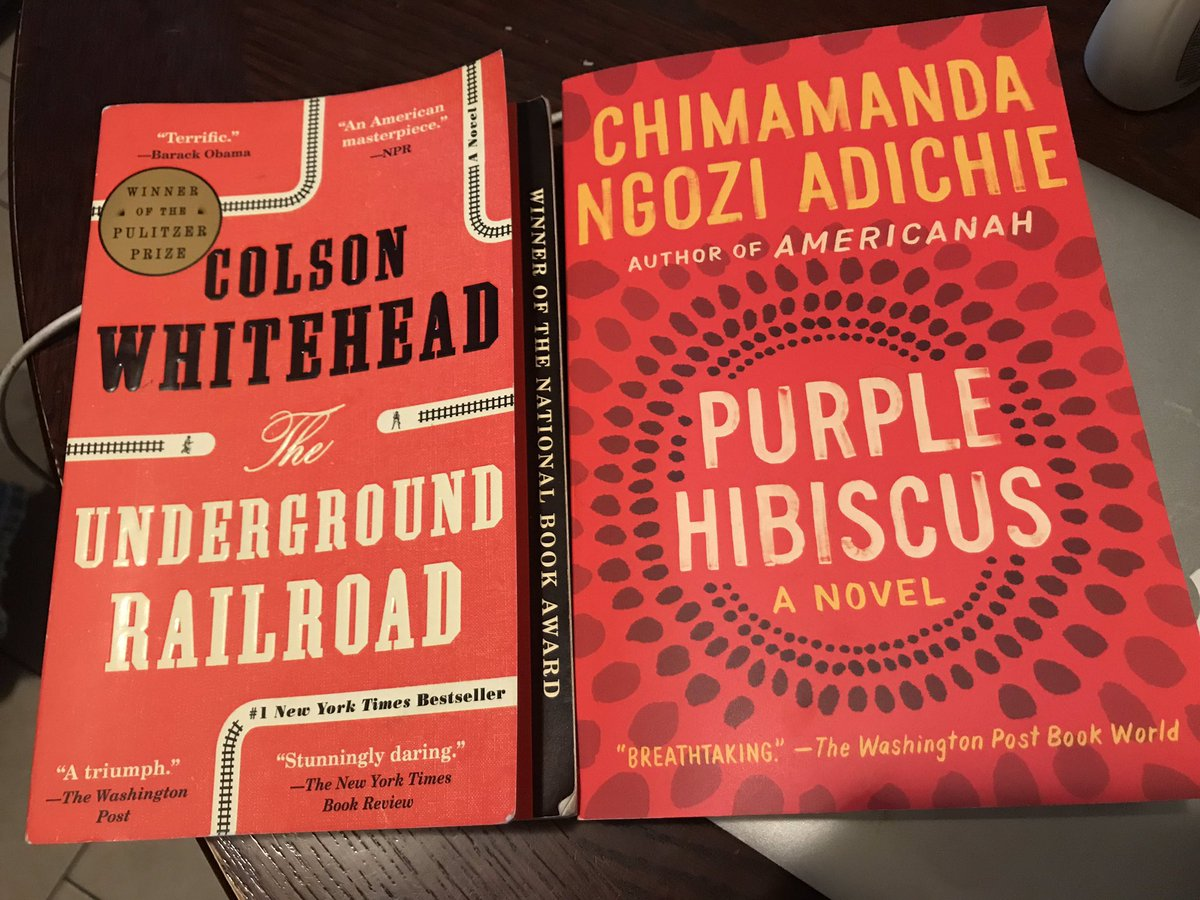 """Finished """"The Underground Railroad"""" - and I'm definitely putting it on my """"Pulitzer"""" book club choice list for my AP Lit class.  Such a good read.  Now, onto """"Purple Hibiscus."""" #englishteachers #summerreading #buildyourstack<br>http://pic.twitter.com/xIqbeFequO"""