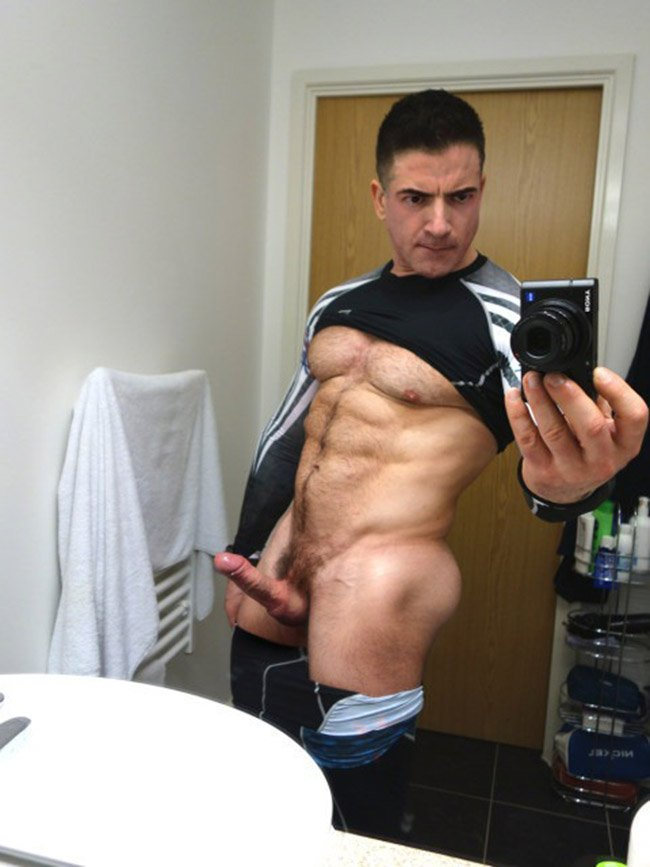 Man with a very big soft uncut cock
