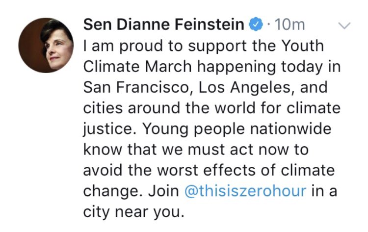 shout out to @SenFeinstein who tweeted her support of the @ThisIsZeroHour movement last year but then when faced with actual climate legislation like the Green New Deal, made a fool out of herself talking down to youth!  @SenFeinstein, tweeting isn't enough!   We need ACTION!<br>http://pic.twitter.com/bWkglmGvjM