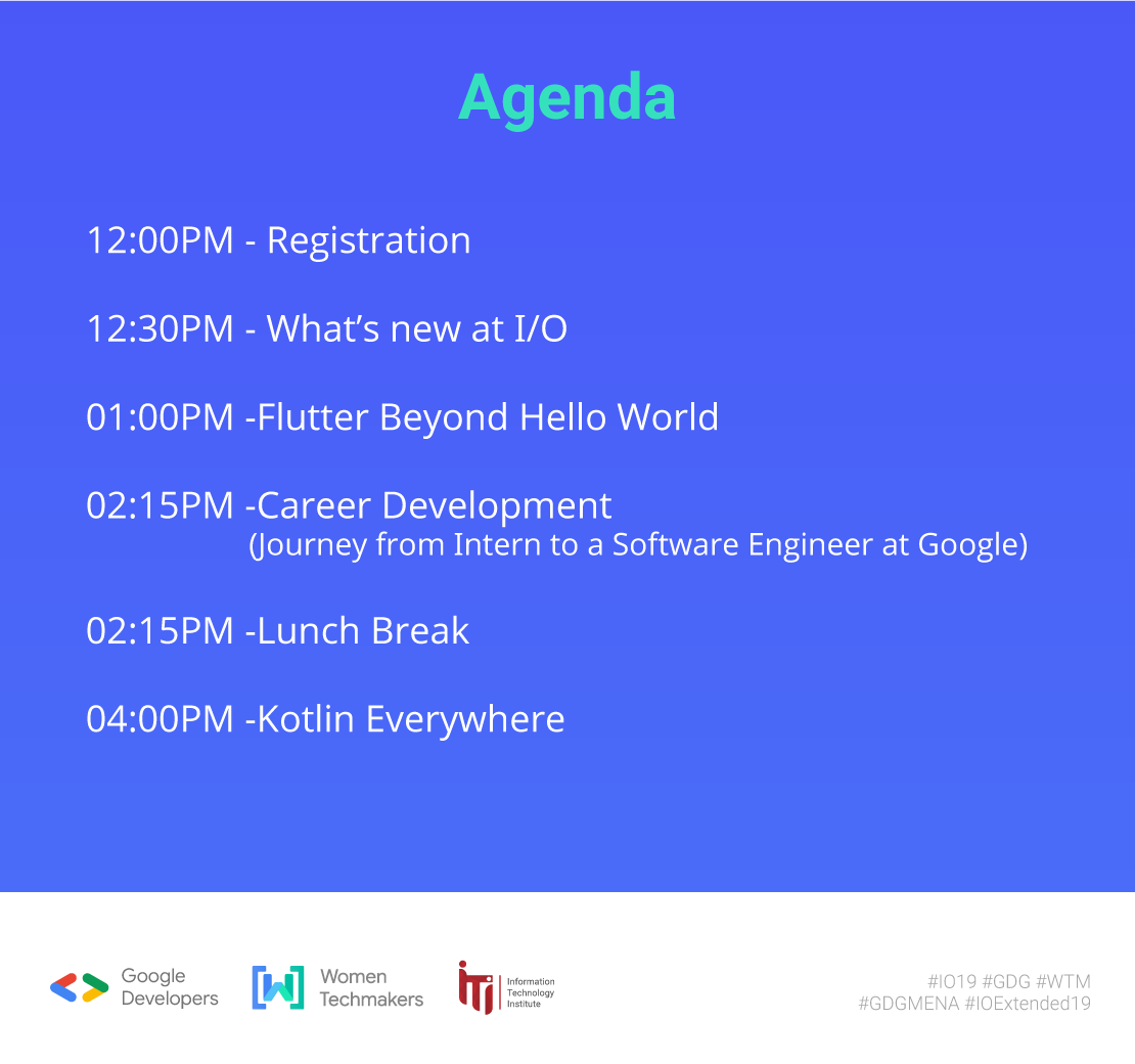 The agenda of our IO Extended '19 is here 🎉All the confirmation emails will be sent tonight 📨Hurry up and register now👇http://forms.gle/5Qzc93htBsajpn376 …#io19 #io19extended #GDG #WTM#KeepInTouchwithGoogle