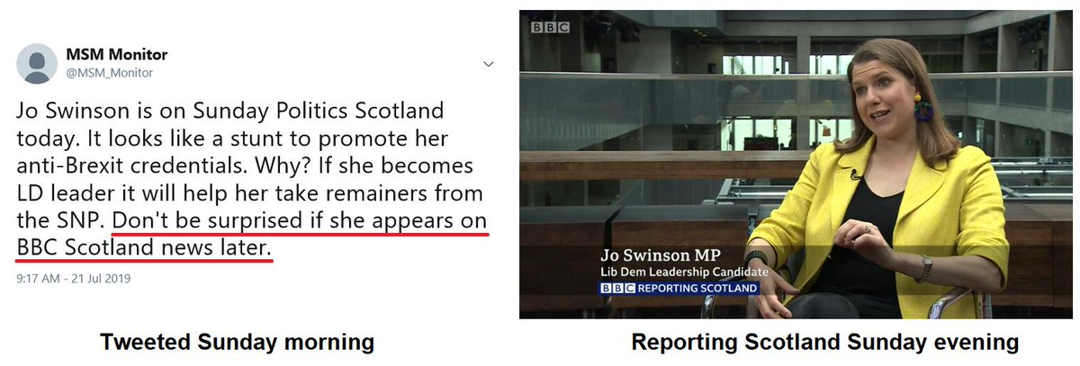 This morning we warned people to look out for Jo Swinson on BBC Scotland news. This evening she appeared on Reporting Scotland. There is no reason for her appearance. Literally none. Someone wanted to boost Swinson's image and her anti-Brexit credentials. BBC Scotland obliged.<br>http://pic.twitter.com/NvmRPae47U