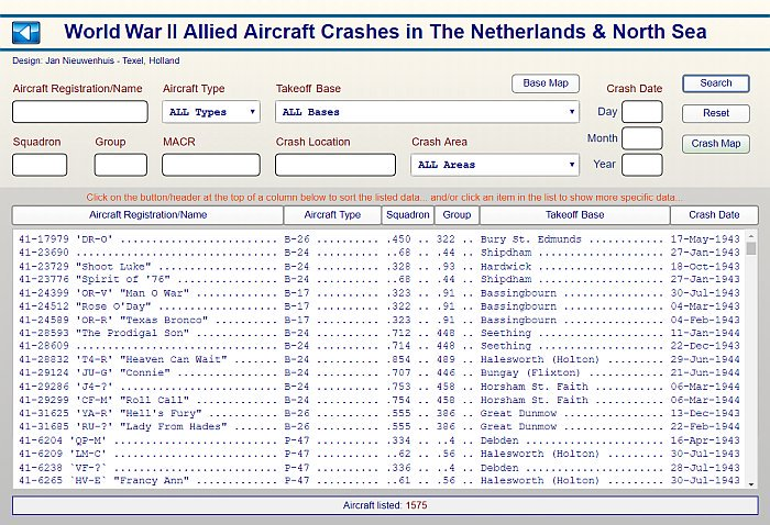 "My ""World War II Allied Aircraft Crashes in The Netherlands & North Sea"" database now lists the detailed information on 1575 crashed aircraft, 7200 crew members and 768 cemeteries... See for more details https://www.airwar4045.nl  #WW2 #airwar #luchtoorlog"