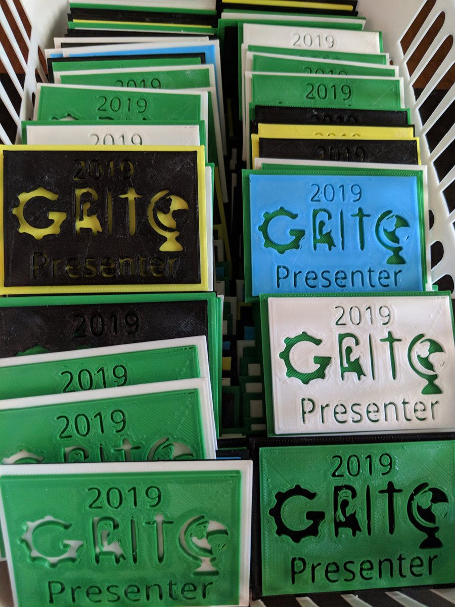 Presenting at #GRITC2019? Then we hope you'll enjoy a little 3D printed gift to recognize you! <br>http://pic.twitter.com/vzzgutLu2E