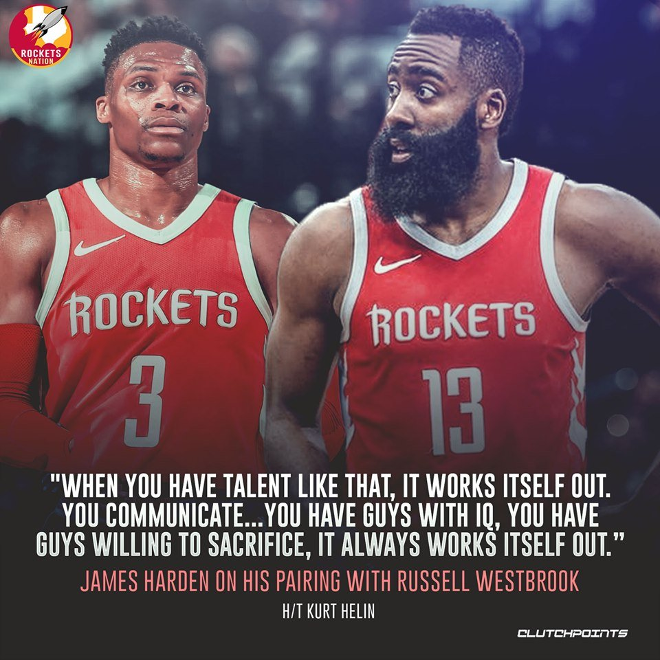 James Harden believes everything will work well with Russell Westbrook 🚀  #Rockets #RunAsOne