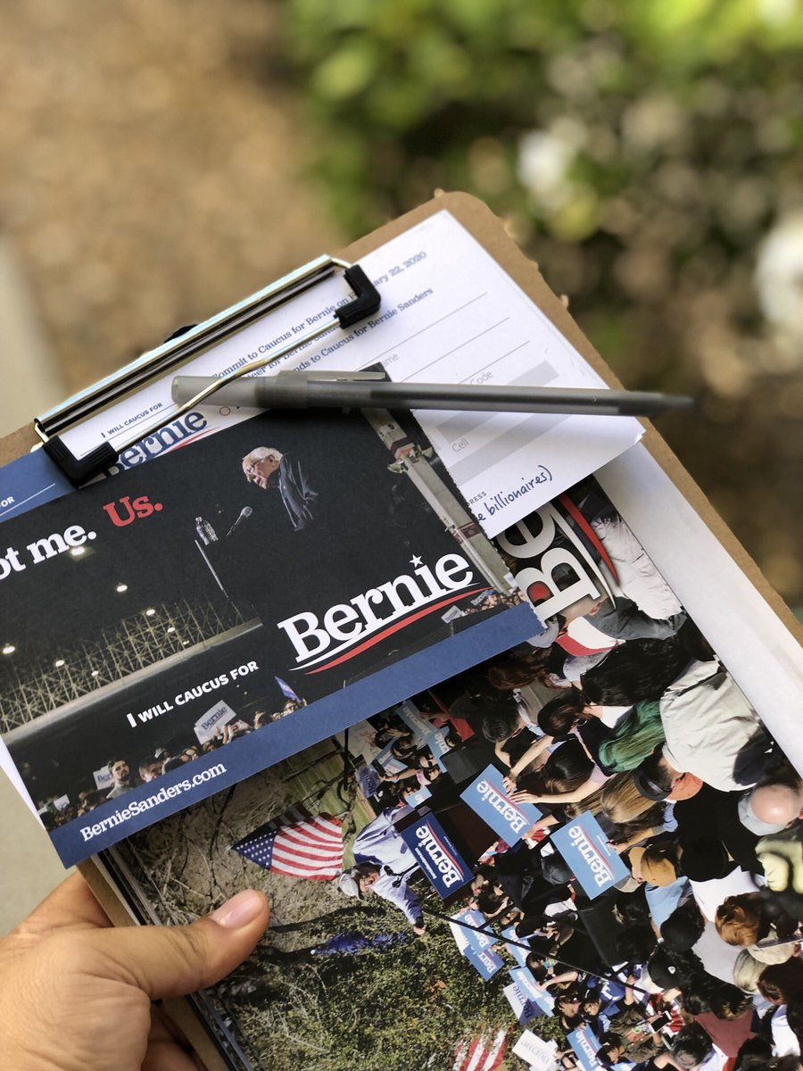 Canvassing for @BernieSanders this morning! On the first door I got a signed Commit to Caucus card!!  #Bernie2020 #FeelTheBern <br>http://pic.twitter.com/OmbdnNU3bo