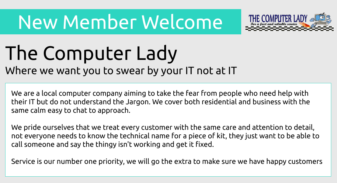 Welcome to New Member 'The Computer Lady' @the_comp_lady #NewRomney #Ashford #Rye Fast, Reliable, Jargon Free! #IT Support & Repairs for #Kent Homes and Businesses; Hit the link to read their profile. http://ow.ly/e8wp30p7BLz