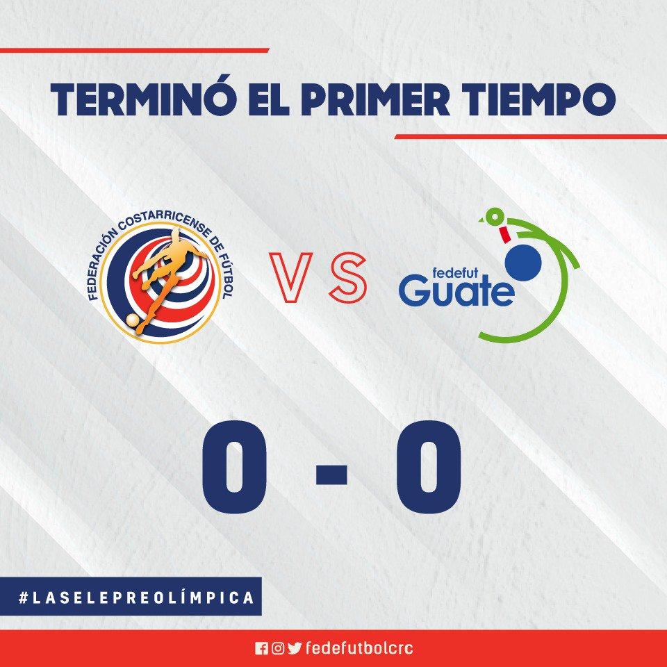 🕘 ¡Termina el primer tiempo! #LaSelePreolímpica🇨🇷 0-0 @fedefut_oficial 🇬🇹   #VamosTicos