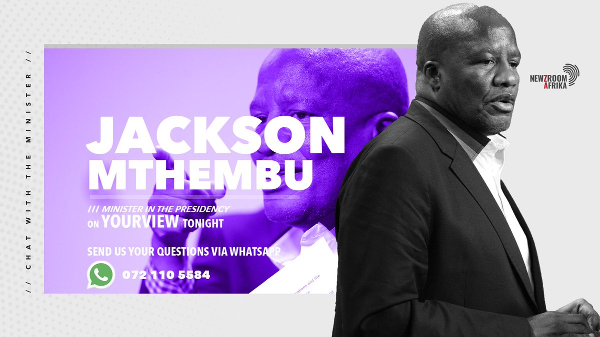 Jackson Mthembu joins @JJTabane for newzmaker tonight. He will be speaking frankly about the state of the nation since his appoitment as the Minister in Presidency #YourViewOn405 #Newzroom405 #NewzroomAfrika