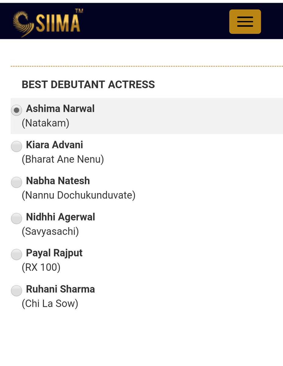 It's time for #SIIMA2019 Awards!!!  The Talented & Charming Actress @iamashimanarwal nominated in Best Debutant Actress (Telugu) Category..  Vote 4 UR Fav Actress #AshimaNarwal 👉 http://siima.in/nomination.php  #PantaloonsSIIMA @siima @vishinduri #Natakam @RizwanEnt #SIIMAinQatar