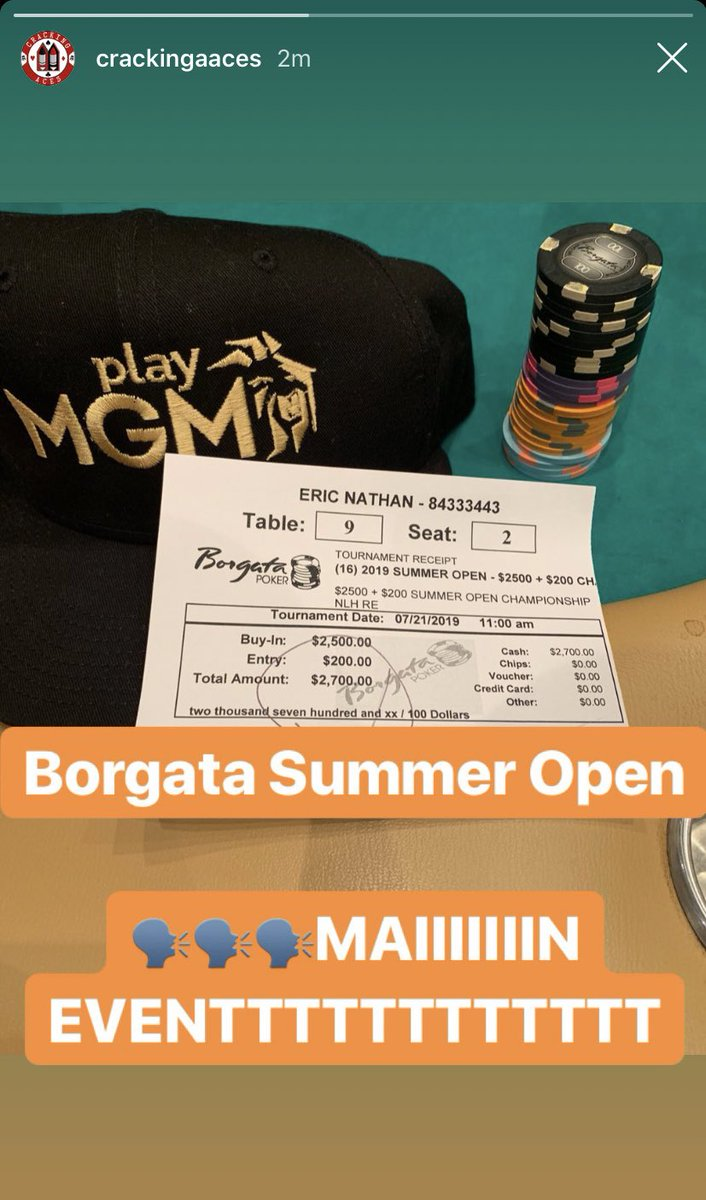 Playing some @BorgataPoker today. Updates on the IG #PlayMGMPoker