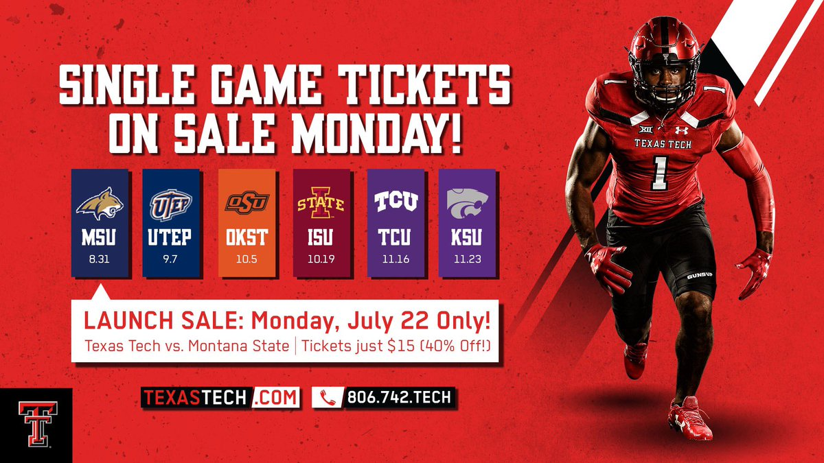 Single game tickets are available soon!  Don't miss our launch SALE all day MONDAY  Let's pack Jones AT&T Stadium for the Home Opener on August 31  #WreckEm<br>http://pic.twitter.com/cPb8PTnv6l
