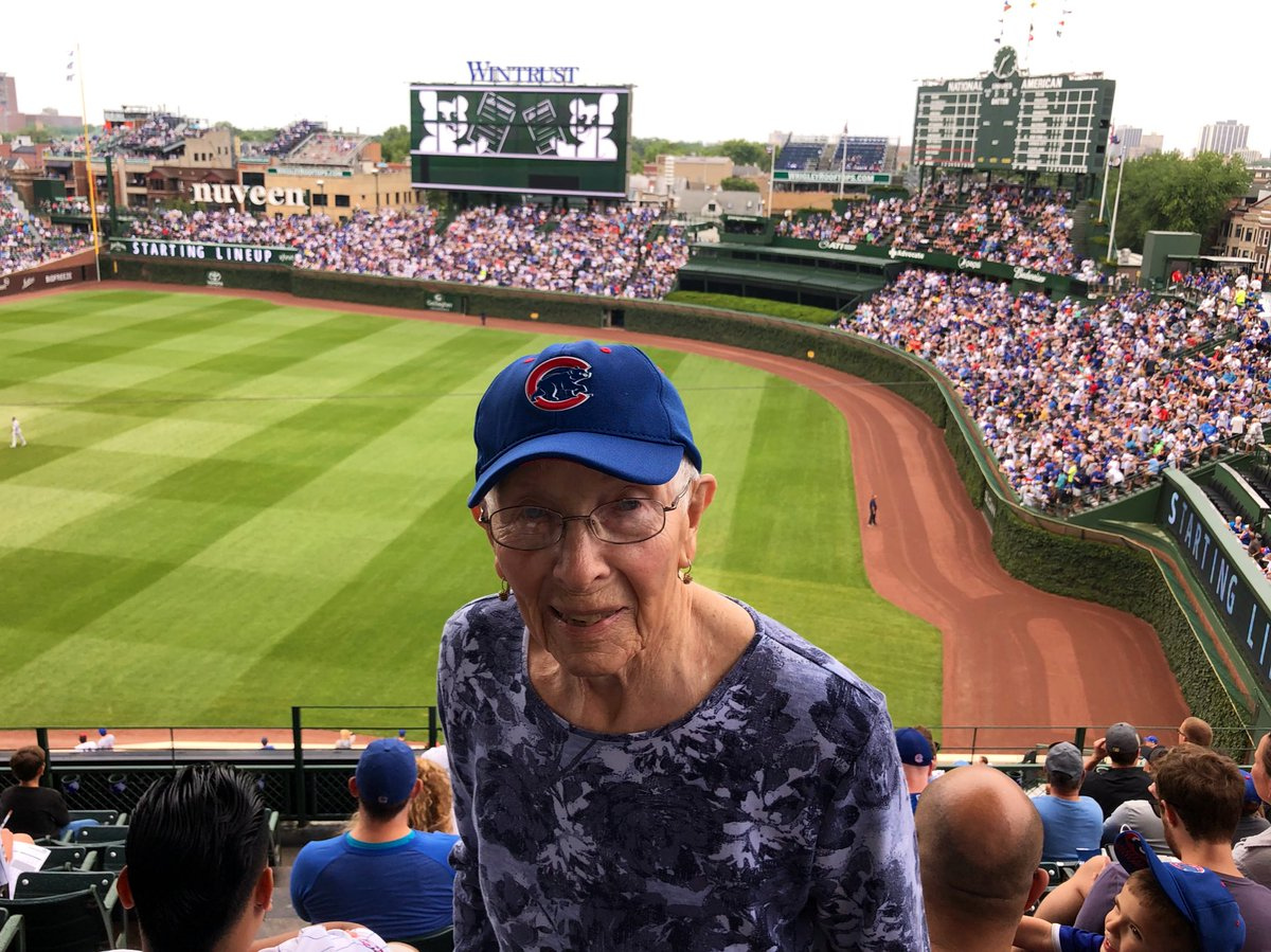 Lifelong @cubs fan Grandma Barb Hayes, 90 years young, making first trip to Wrigley Field in seven years. Go Cubs Go!!  #EverybodyIn  <br>http://pic.twitter.com/Q8kpUpemJ5