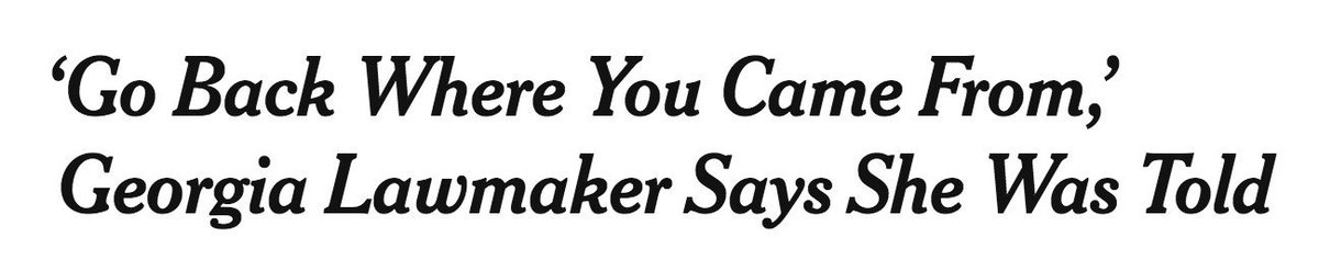 Unbelievable. This is NYT's headline, but then down at the bottom of the piece they quote Thomas acknowledging that the guy didn't tell her to go back anywhere. https://www.nytimes.com/2019/07/21/us/erica-thomas-georgia.html?emc=rss&partner=rss…
