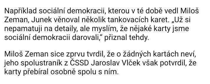 Vypadá to, že Zemanova paměť je značně selektivní. Články vlevo dole si pamatuje s jistotou. Tankovací karty od Junka si nepamatuje. #prezident #Zeman @PREZIDENTmluvci