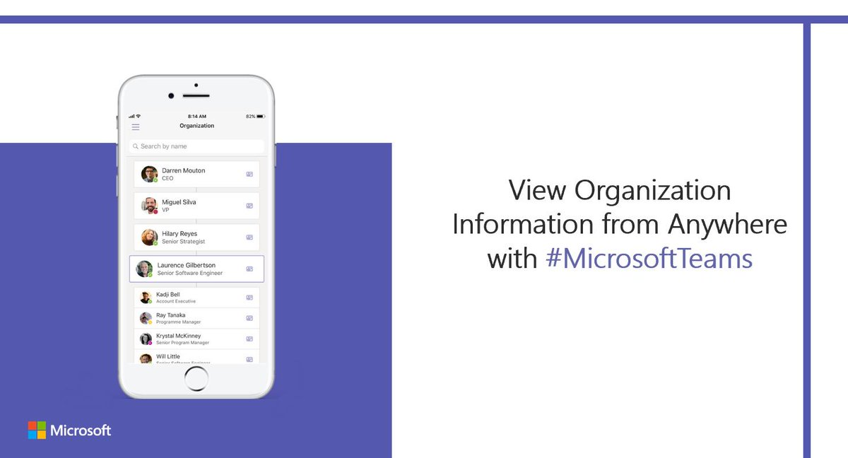 View organizational information from anywhere with the #MicrosoftTeams app: http://msft.social/2KWTKJ
