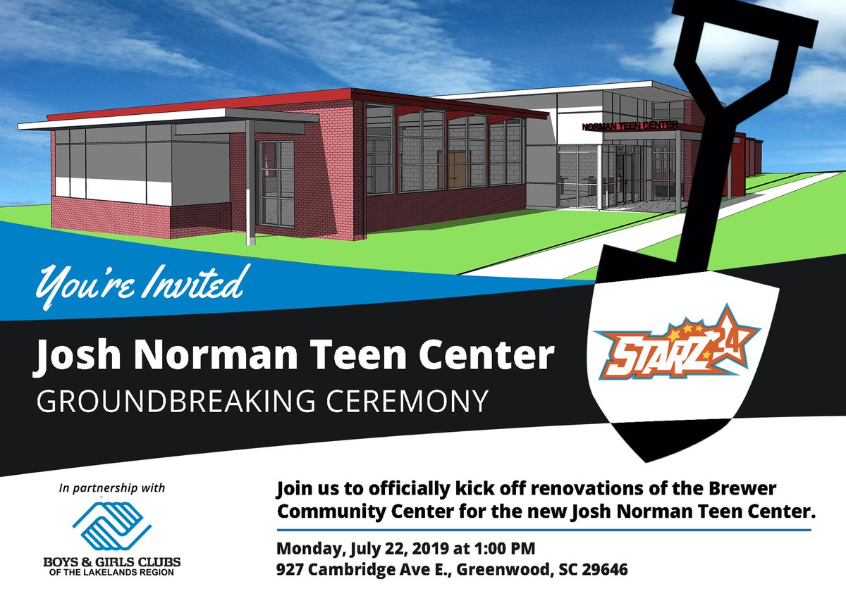 Join us tomorrow at the groundbreaking ceremony for the Josh Norman Teen Center in Greenwood. We are so excited to create a safe and productive space for the youth in this community and look forward to building memories, dreams, and relationships here for years to come.