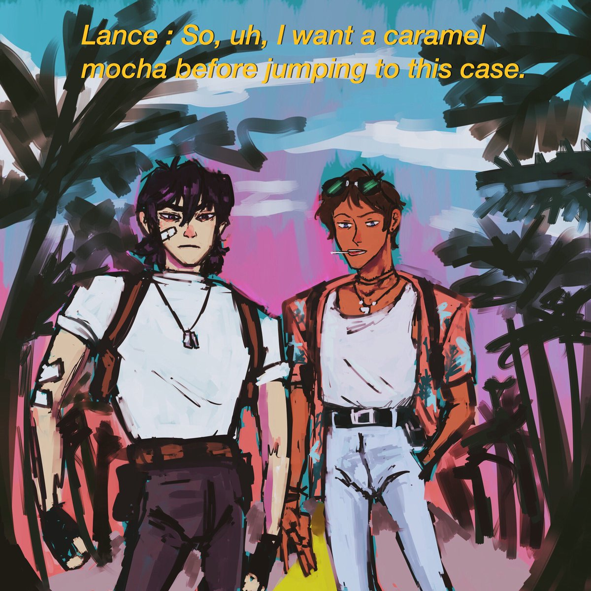 hhh i got back on this very old policemen klance au (takes place in 80s in Miami or sumn) n it was a good idea why did I even forget about it   #klance #klancefanart<br>http://pic.twitter.com/stIS24grfy