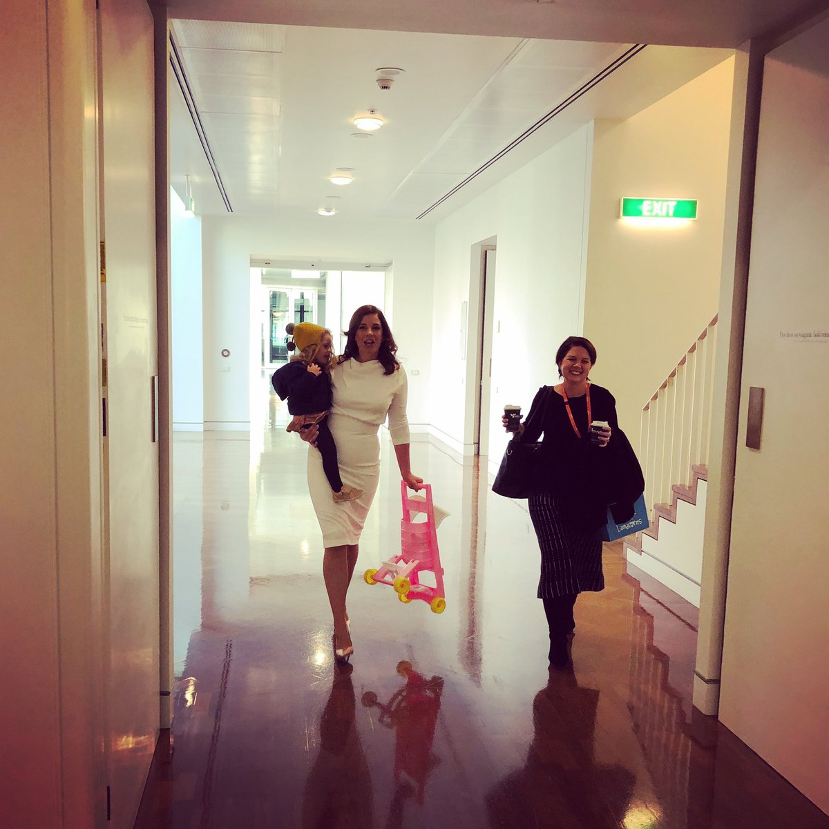 I'm just a girl, standing in front of a 2 year old, asking her to push her own Dolly's pram through the Parliament. #auspol<br>http://pic.twitter.com/0py6nQlxP3 – à House of Representatives