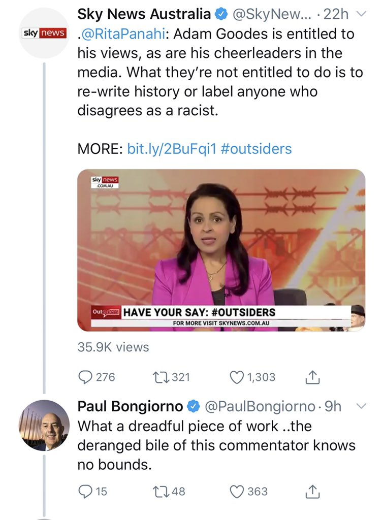 """Talking about old Lefties & unhinged attacks. This is what you get when you counter their race baiting BS with facts.  Not surprising from Bongiorno who called @nyunggai an """"Uncle Tom"""".   https://twitter.com/paulbongiorno/status/1152920458091589633?s=21…"""