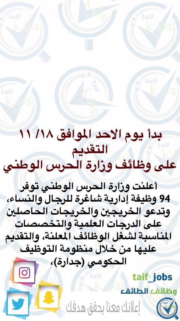 وزارة الحرس الوطني توفر ٩٤ وظيفة ادارية للجنسين سنابوظائفالطائف