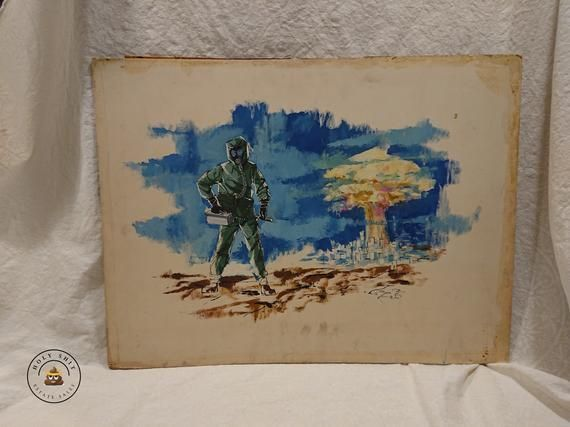 #etsyshop: #Vintage #Nuclear #Attack from the home of Bernard Zalusky - #Ink and #Paint #Illustration - Free Shipping https://buff.ly/2UhDFmF #art #painting #blue #birthday #fathersday #green #unframed #military