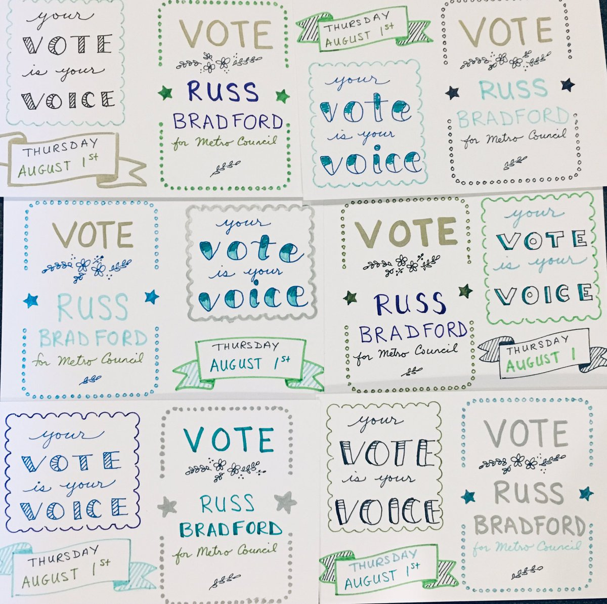 Tennessee! Your vote is your voice in the special election Thursday Aug 1  Vote @Bradford4D13 for Metro Council  #PostcardsToVoters #BlueWave Every election matters! <br>http://pic.twitter.com/tx6SaWj42c