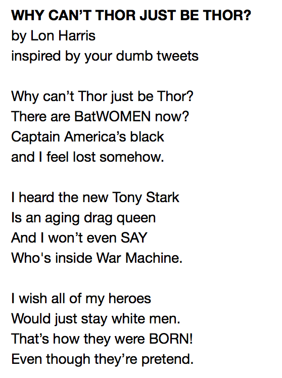 Why Can't Thor Just Be Thor? A poem Inspired by your dumb tweets
