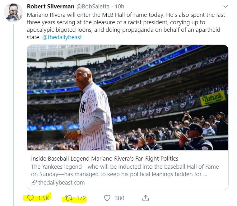 If anything ever deserved to be ratio'd, this disgusting @thedailybeast hit piece on Mariano Rivera was it